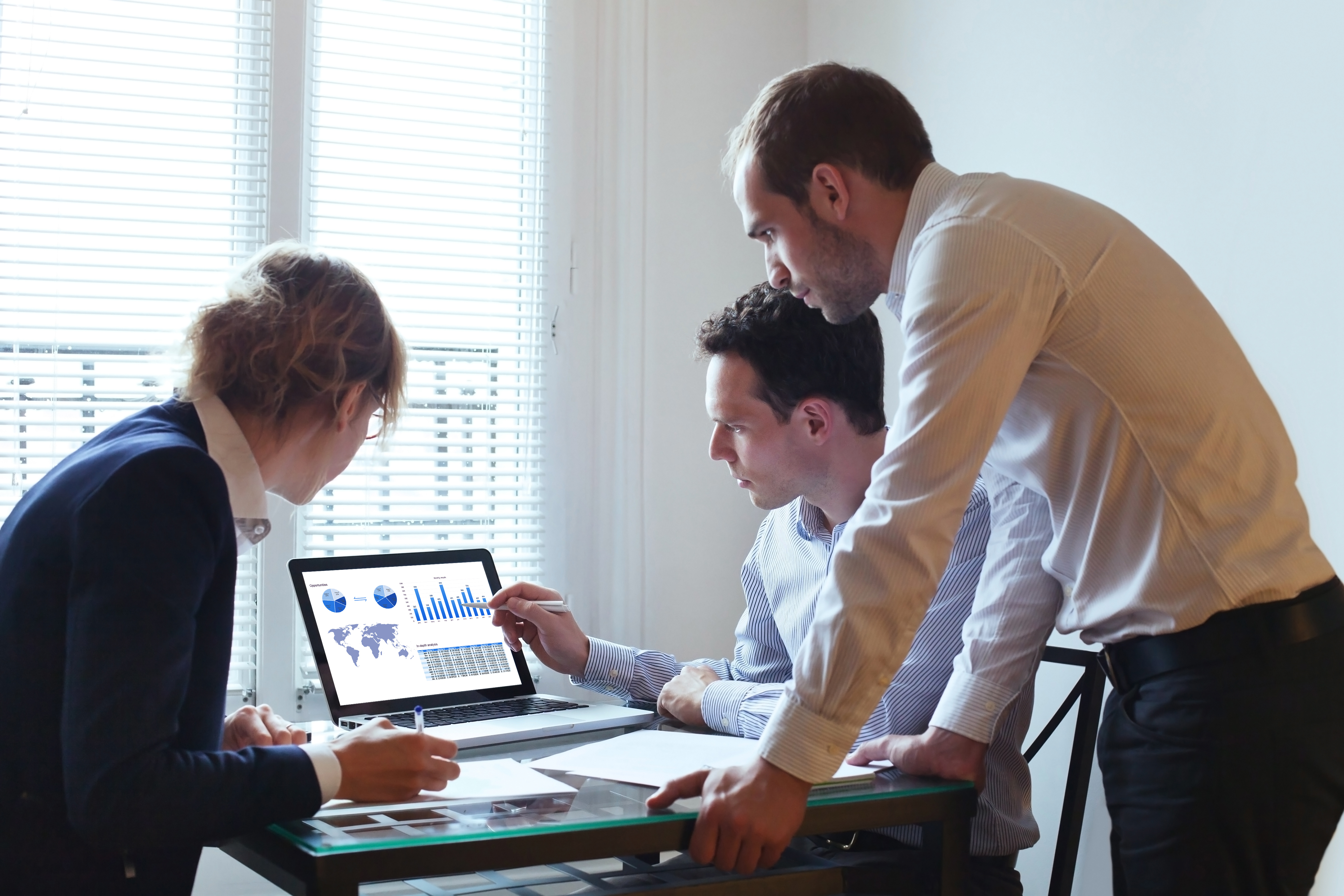 Business partners reviewing data